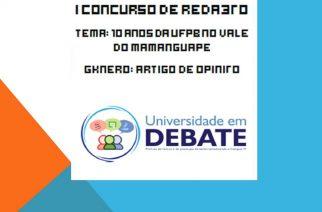 Projeto Universidade em Debate prorroga prazo para envio de textos de Concurso de Redação