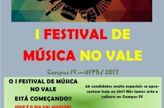 Acontece no Campus IV da UFPB o I Festival de Música no Vale